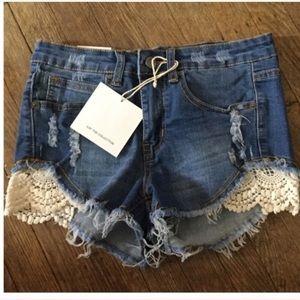 Pants - American Bazi Distressed Jeans Shorts
